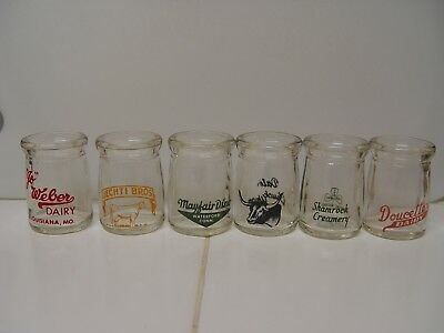 Lot Of 6 Individual 3/4 Ounce Glass Dairy Advertising Creamers With Pyro Ad