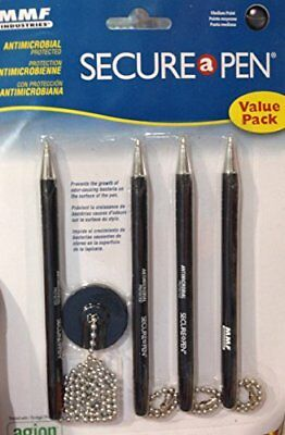 Secure-A-Pen Antimicrobial Counter Pen with 3 Refills, Black (514455)