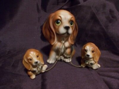 Vintage Beagle Dog Mom with Two Pups on Chain Made in Japan