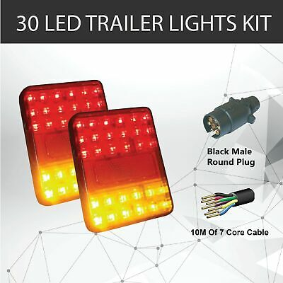 Pair of 30 LED TRAILER LIGHTS KIT - 1 x Trailer Plug, 1 x 10 M 5 CORE CABLE, 12V