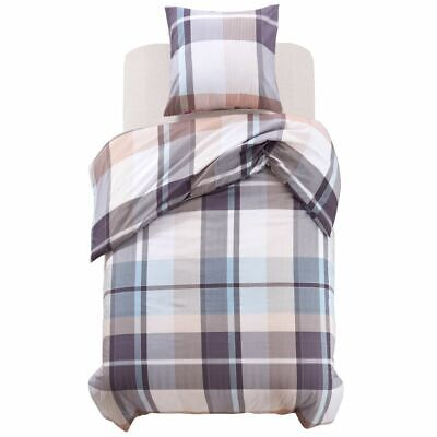 vidaXL Duvet Cover Bedding Set 2 Piece Khaki Checkered Print 155x200/80x80 cm