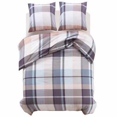 vidaXL Duvet Cover Bedding Set 3 Piece Khaki Checkered Print 200x220/60x70 cm