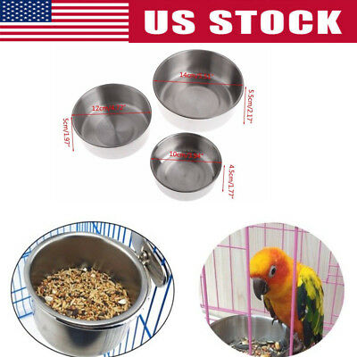 Bird Feeders Parrot Stainless Steel Food Bowl Parrot Cage Stand Food Cup Dish