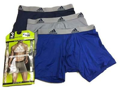 3 Pack Mens Adidas Climalite Boxer Briefs Performance Collegiate Blue Navy Grey