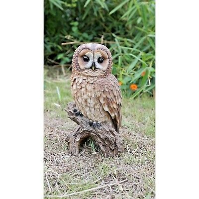 BROWN OWL ON STUMP LARGE  Life Like Realistic New Figurine Statue Home or Garden