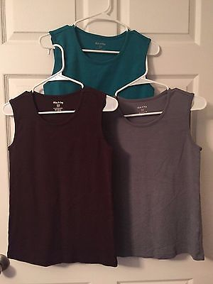 Lot of 3 Women's Sleeveless Tops Size Small (Turquoise, Brown, Gray)