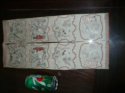 Pair Beautiful Antique Chinese Silk Embroidery Textile Robe Sleeve Bands