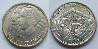 USA Classic Commemorative Silver Half Dollar Arkansas 1935 Indian + Liberty