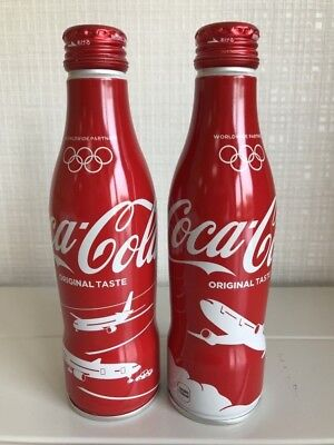 Japan Airlines JAL Tokyo Olympic 2020 Coca Cola 250ml Bottle Can Set UNOPEND