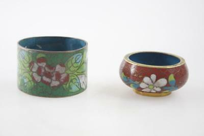 VINTAGE EARLY 20th Century CHINESE LOT TWO CLOISONNE NAPKIN RING SALT BOWL