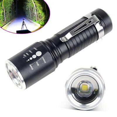 T6 Zoomable 5modes Tactical Military 10000Lumens 18650 Flashlight Torch LED Lamp