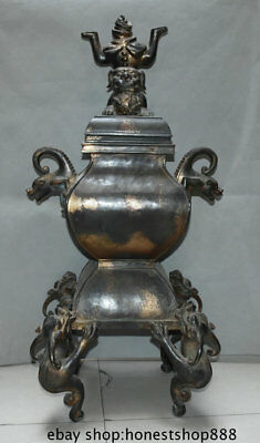 """36"""" Old Chinese Purple Bronze Gilt Dragon Beast Ear Foot Lion Incense Burners"""