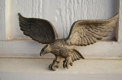 """Vintage Cast Metal Small Hanging Eagle, Brass Colored, 8 3/4"""""""