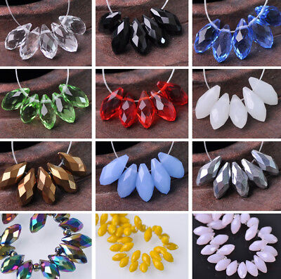 (88 Colors) 20pcs 6x12mm Faceted Teardrop Glass Crystal Loose Spacer Beads