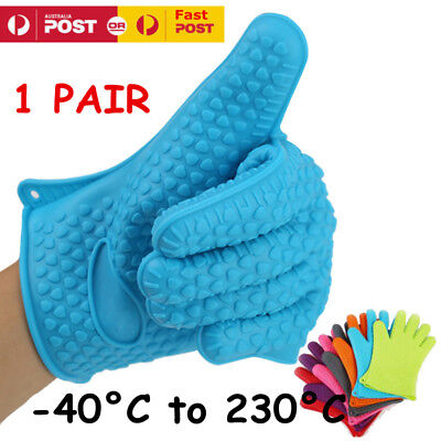 Silicone BBQ Gloves 1Pair: Kitchen Oven Mitts Non Stick Pot Heat Proof Resistant
