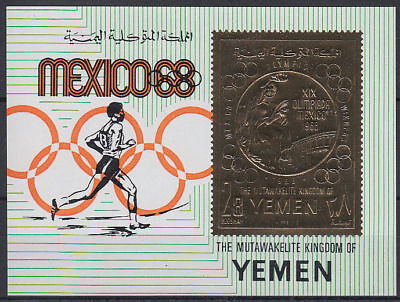 Yemen Kgr 1968 ** Bl.143 Olympic Games Olympische Spiele Gold Foil issue