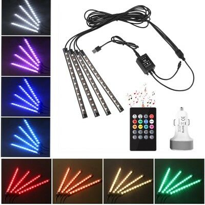 48 LED Car Interior Lights with USB Port and Car Charger Waterproof Multi-color