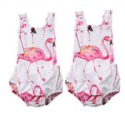 AU Stock Infant Baby Girl Flamingos Romper Kids Jumpsuit Bodysuit Outfit Clothes