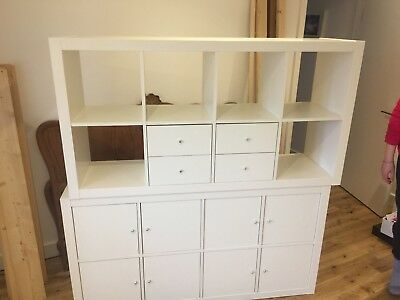ikea expedit kallax shelving unit large white incl drawers and doors picclick uk. Black Bedroom Furniture Sets. Home Design Ideas