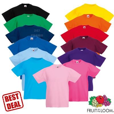 Fruit Of The Loom T-SHIRT CREW NECK TOP PLAIN TODDLER PE KIDS CHILDRENS AGE 1-15