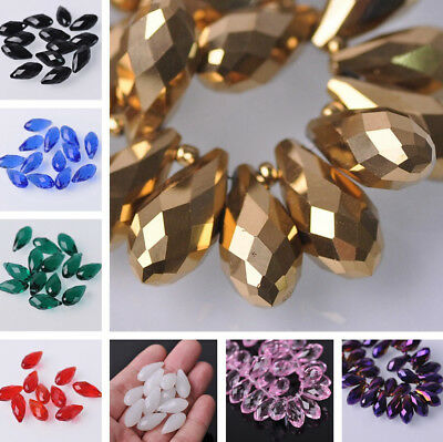 (70 Colors)  10pcs 10X20mm  Faceted Teardrop Glass Crystal Loose Spacer Beads