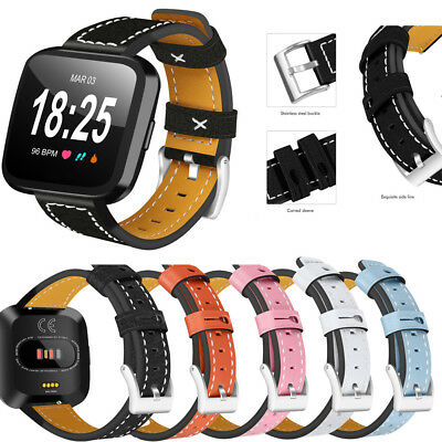 Replacement Genuine Leather Wrist Watch Band Strap For Fitbit Versa Smartwatch