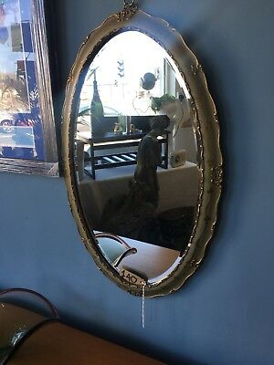 Antique Vintage French Green And Gold Oval Mirror Bevelled