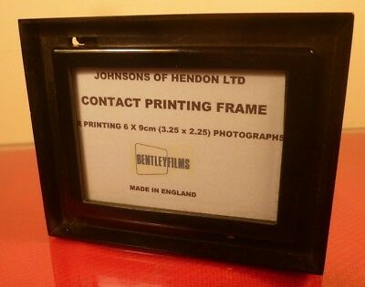 "JOHNSONS OF HENDON: CONTACT PRINTING FRAME for 2.25 x 3.25"" (6x9cm) negatives."