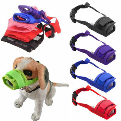 USA Pet Adjustable Dog Muzzle Fabric Nylon Comfortable Soft No Bark Bite Chew