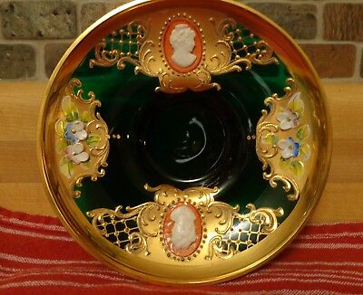 Vintage Moser Emerald Green Bohemian Cameo Plate