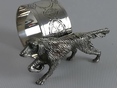 (ref165EQ 42) Vintage Silver Plated Napkin Ring With Hunting Dog