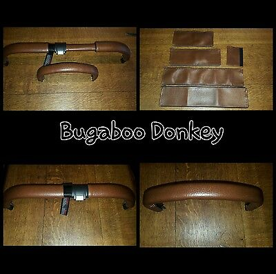 Bugaboo donkey twin BROWN faux leather zip on handle bar and 2 bumper bar covers