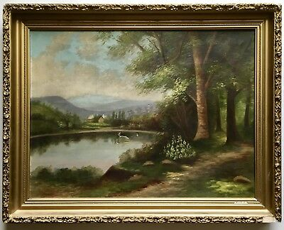 Antique 19th Century Signed Landscape Oil Painting Period Gold Gilt Gesso Frame