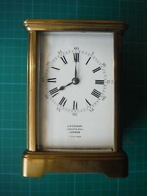 French Brass Carriage Clock J.W. Benson with Leather case + Key Corniche?