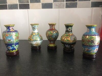 Five Miniature Chinese Cloisonne Vases With Stands