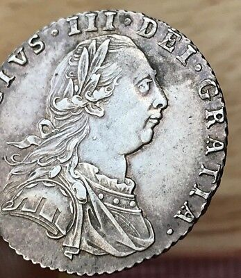 George III - sixpence - silver - 1787 - rev with semée hearts 4th shield