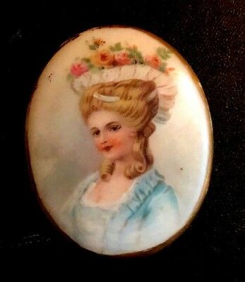 Stunning ANTIQUE Victorian Hand-Painted  Portrait OF Woman On Porcelain Sign BG