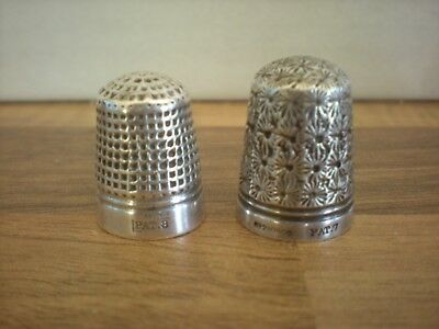 2 x Vintage Sterling Silver Thimbles
