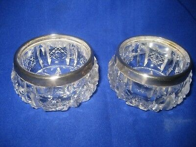 Pair of STERLING SILVER And Cut Glass Salt Bowls Hallmarked C E Williams  c.1911