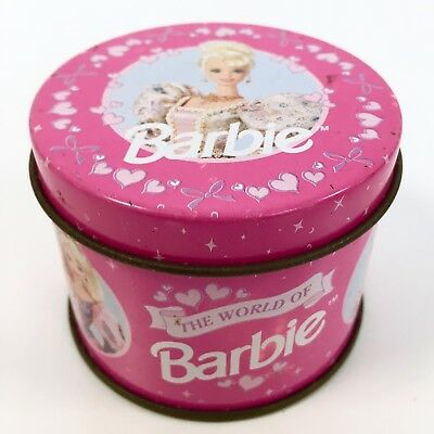 VINTAGE 90S Barbie Miniature Tin Container Trinket Jewelry Box