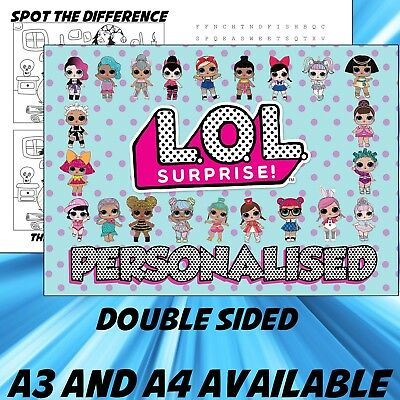 Childrens LOL Suprise table Dinner Mat A4 / A3 sizes available Place Mat
