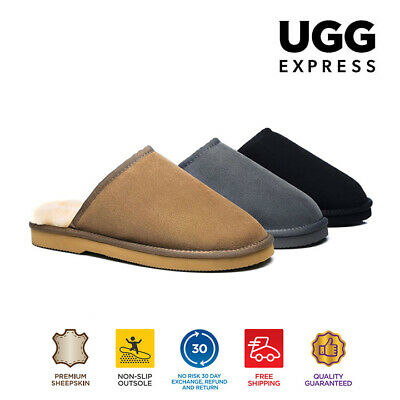 EVER UGG Scuff Slippers Australian Fine Wool Sheepskin,Suede Up,Men 12 Available