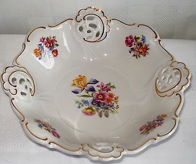 Weimar (Barbarina) Reticulated Floral Bowl (Germany)