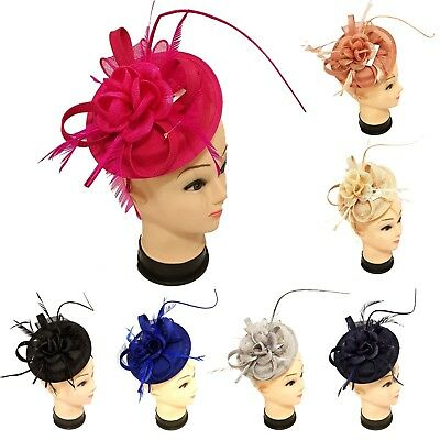 Women Elegant Fascinator with Headband Clip Weddings Ladies Day Race Royal Ascot