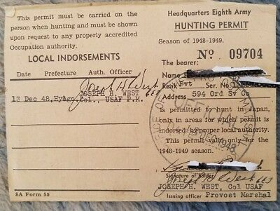 Rare Vintage Occupied Japan US Military Hunting License & Game Rules Card 1949