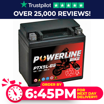 PTX5L-BS Powerline Bike Motorcycle Battery Replaces YTX5L-BS