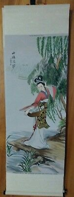 Vtg  Asian Chinese painting on woven silk brocade tapestry scroll wall decor