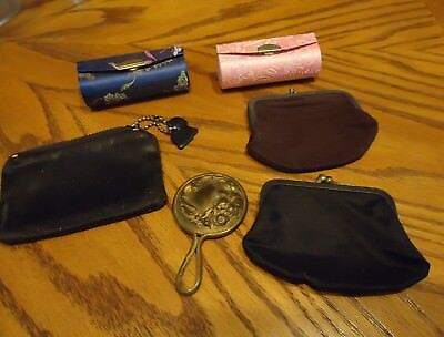 DRAWER VINTAGE ANTIQUE ITEMS LOT OF MISC Coin purse LIPSTICK HOLDERS,SM MIRROR