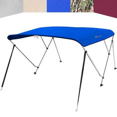 """3 Bow Boat Bimini Top Cover Boat Canopy Shade with Support Pole Boot Blue 73-78"""""""