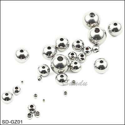 Stainless Steel Round Spacer Beads Jewelry Crafts Findings 2mm -12mm 50-1000PCS